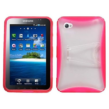 Insten® Gummy Case With Stand For Samsung P1000 Galaxy Tab, Transparent Clear/Pink