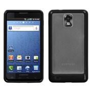 Insten® Gummy Case For Samsung I997/Infuse 4G, Transparent Clear/Solid Black