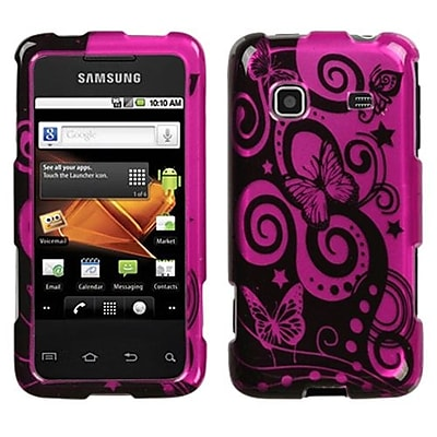 Insten® Phone Protector Case For Samsung M820 Galaxy Prevail; Playful Butterfly/Hot-Pink Silver