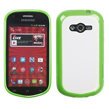 Insten® Gummy Case For Samsung M950 Galaxy Reverb, Transparent Clear/Solid Green