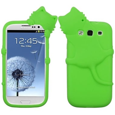 Insten Peeking Pets Skin Case For Samsung Galaxy S III, Electric Green Cat (1012252)