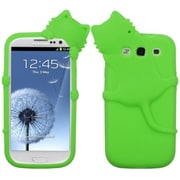 Insten® Peeking Pets Skin Case For Samsung Galaxy SIII, Electric Green Cat