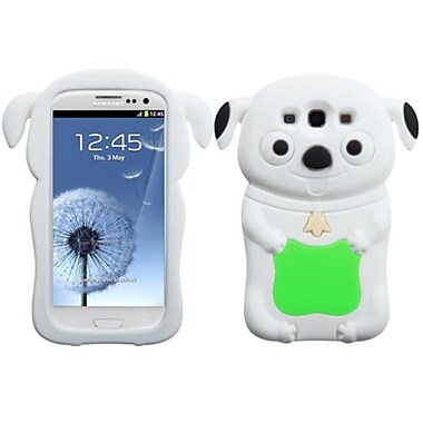 Insten Pastel Skin Case For Samsung Galaxy S III, Electric Green/White Cheeky Dog (1012278)