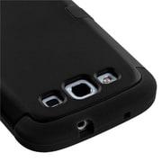 Insten® Rubberized TUFF Hybrid Phone Protector Case F/Samsung Galaxy SIII; Black