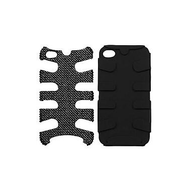 Insten® Diamante/Fishbone Phone Protector Cover F/iPhone 4/4S, Black/Hot-Pink