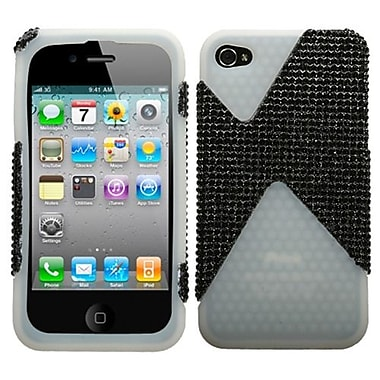 Insten Diamante/Diamond Veins Dual Protector Cover For iPhone 4/4S, Black/Black/T-Clear (1014956)