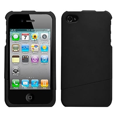 Insten® Rubberized Protector Cover F/iPhone 4/4S, Black Slash