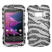 Insten® Diamante Protector Case For Alcatel One Touch 918; Black Zebra