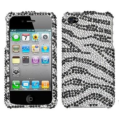 Insten® Diamante Protector Cover F/iPhone 4/4S, Black Zebra Skin