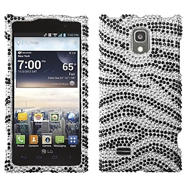 Insten® Diamante Protector Cover For LG VS930 Spectrum 2, Black Zebra