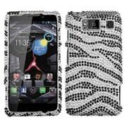 Insten® Diamante Protector Case For Motorola Droid RAZR HD XT926W, Black Zebra