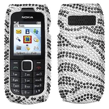 Insten® Diamante Protector Case For Nokia 1616, Black Zebra Skin