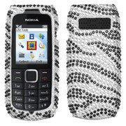 Insten® Diamante Protector Case For Nokia 1616, Black Zebra Skin