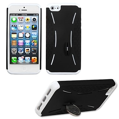 Insten® Fusion Rubberized Protector Cover W/Quarter Stand F/iPhone 5/5S, Black/Solid White