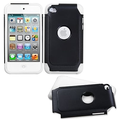 Insten® Fusion Protector Cover For iPod Touch 4th Gen, Black/White Frosted