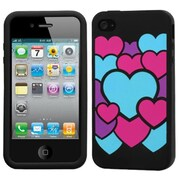 Insten® Pastel Skin Case F/iPhone 4/4S, Colorful Love/Black