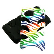 Insten® Rubber Protector Case For Motorola XT875 Droid Bionic; Black Colorful Zebra Fishbone
