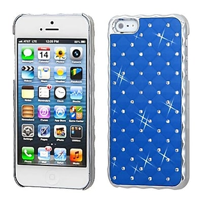 Insten® Luxurious Lattice Alloy Elite Dazzling Back Protector Cover W/Diamonds For iPhone 5/5S, Blue