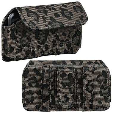 Insten Horizontal Pouch Belt Clip For iPod Touch 4th Gen, Coffee Leopard Animal Skin Watermark (1016245)