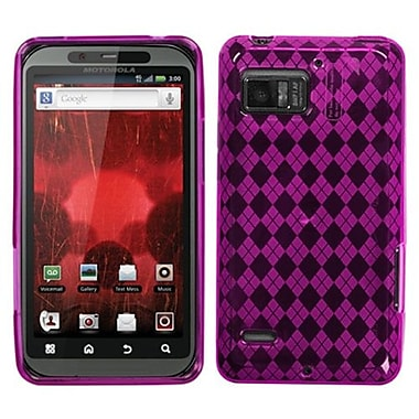 Insten® Argyle Candy Skin Cover For Motorola XT875 Droid Bionic, Hot-Pink Pane