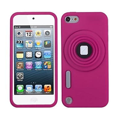 Insten® Camera Style Stand Pastel Skin Cover With Lanyard For iPod Touch 5th Gen, Hot-Pink