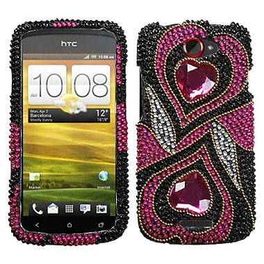 Insten Diamante Protector Case For HTC-One S, Hot Pink Hypnotic Hearts (1016438)