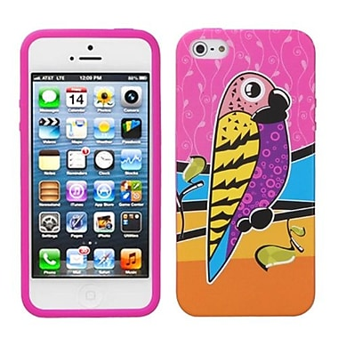 Insten® Skin Cover F/iPhone 5/5S, Hot-Pink Tropical Parrot