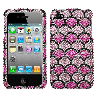 Insten Diamante Protector Cover For iPhone 4/4S, Hot Pink Wavelet (1016470)