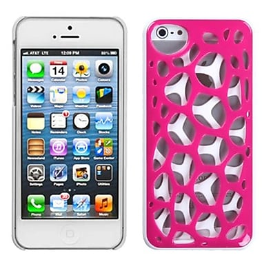 Insten® Synapse Cover F/iPhone 5/5S, Hot-Pink/White