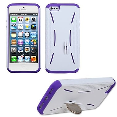 Insten® Fusion Rubberized Protector Cover W/Quarter Stand F/iPhone 5/5S, Ivory White/Electric Purple