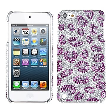 Insten Diamante Back Protector Cover For iPod Touch 5th Gen, Leopard Skin/Purple (1016678)