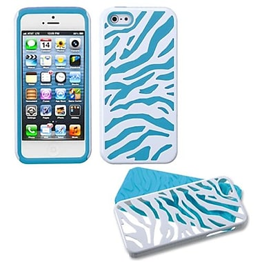 Insten® Fusion Protector Cover F/iPhone 5/5S, Natural Ivory White Zebra Skin/Tropical Teal