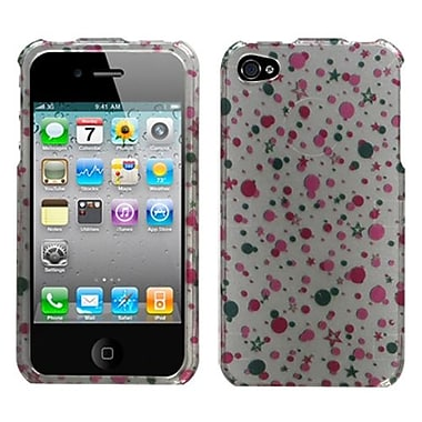Insten® Phone Protector Cover F/iPhone 4/4S, Polka Stars (2D Silver)