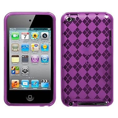 Insten® Argyle Checker Flexi Gel Skin Cover For iPod Touch 4th Gen, Purple