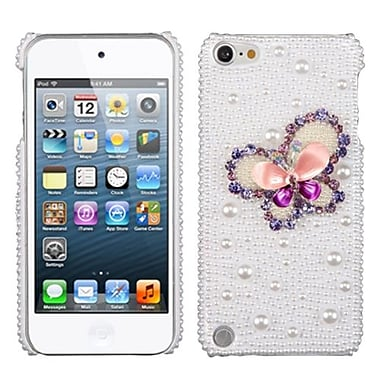 Insten® Phone Cover For iPod Touch 5th Gen, Purple 3D Diamante Pearl Butterfly