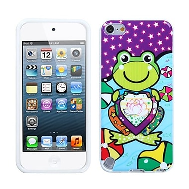 Insten® TPU Plastic Gummy Skin Cover For iPod Touch 5th Gen, Purple Lotus Frog