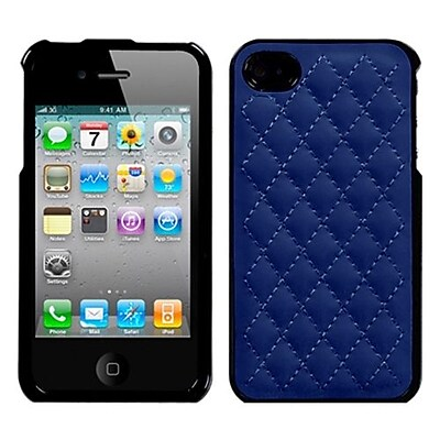 Insten® Executive Protector Cover F/iPhone 4/4S, Quilted Dark Blue
