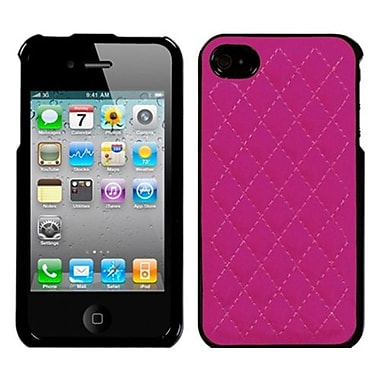 Insten® Executive Protector Cover F/iPhone 4/4S, Quilted Hot-Pink