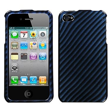 Insten Phone Protector Cover For iPhone 4/4S, Racing Fiber/Blue (1017549)