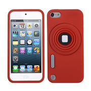 Insten® Camera Style Stand Pastel Skin Cover With Lanyard For iPod Touch 5th Gen, Red