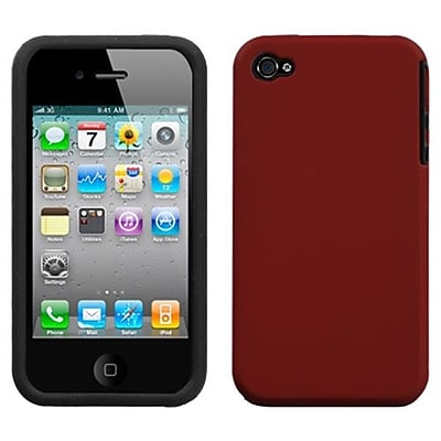 Insten® Fusion Rubberized Faceplate Case F/iPhone 4/4/4SG; Red
