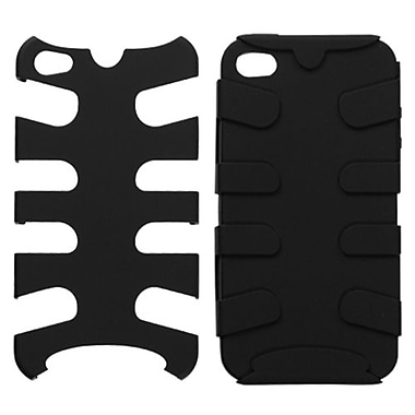 Insten Fishbone Rubberized Phone Protector Cover For iPhone 4/4S, Black/Black (1017748)
