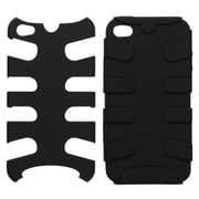 Insten® Fishbone Rubberized Phone Protector Cover For iPhone 4/4S, Black/Black
