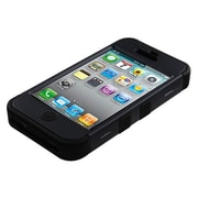 Insten® TUFF Hybrid Rubberized Phone Protector Cover F/iPhone 4/4S, Black/Black