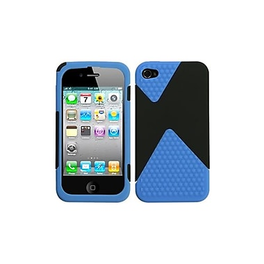 Insten Rubberized Phone Protector Cover For iPhone 4/4S, Black/Dark Blue Diamond Veins Dual (1017759)