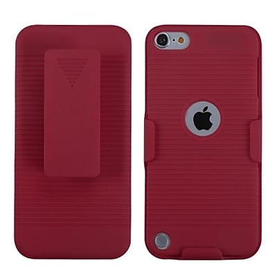 Insten® Rubberized Hybrid Holster For iPod Touch 5th Gen, Red