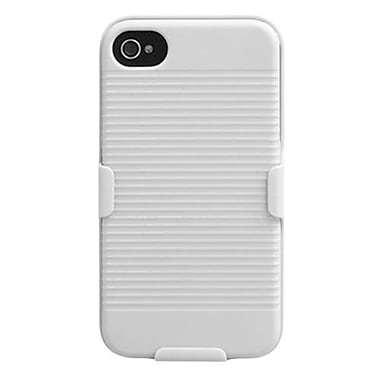 Insten Hybrid Rubberized Holster For iPhone 4/4S, Solid Ivory White (1017802)