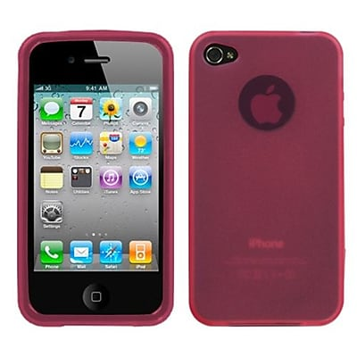 Insten® Rubberized Candy Skin Cover For iPhone 4/4S; Semi Transparent Pink