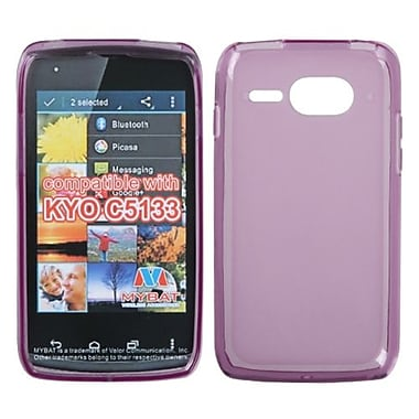 Insten® Rubberized Candy Skin Cover For Kyocera C5133, Semi Transparent Purple