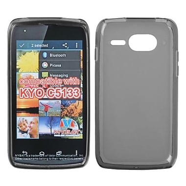 Insten® Rubberized Candy Skin Cover For Kyocera C5133, Semi Transparent Smoke